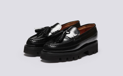 Bethany | Womens Loafers in Black Hi Shine Leather | Grenson - Main View