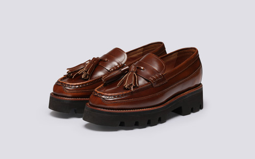 Bethany | Womens Loafers in Tobacco Hi Shine Leather | Grenson - Main View
