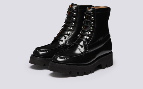 Harper | Womens Boots in Black Hi Shine Leather | Grenson - Main View