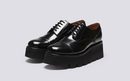 Kennedy | Womens Captoe Derby Shoes in Black | Grenson - Main View