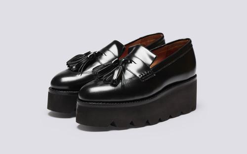 Kitty | Womens Loafers in Black Hi Shine | Grenson - Main View