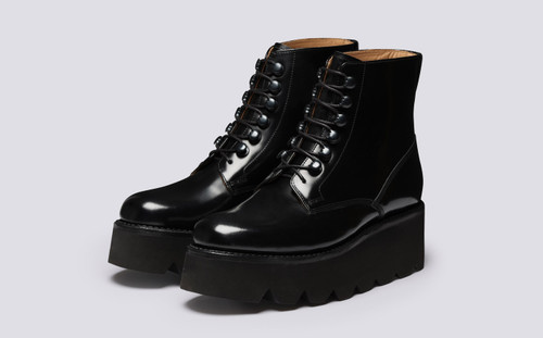 Jane | Black Boots for Women on Wedge Sole | Grenson - Main View