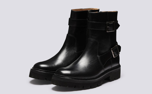 Natasha | Womens Boots in Black Leather with Zip | Grenson - Main View