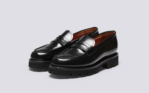 Philippa | Womens Loafer in Black Hi Shine Leather | Grenson - Main View