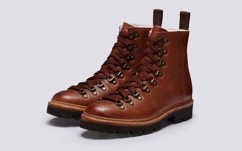 Nanette | Womens Hiker Boots in Tan Natural Grain | Grenson - Main View