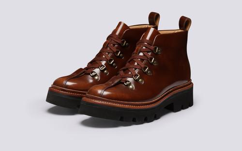 Bridget | Womens Hiker Boots in Tobacco Hi Shine | Grenson - Main View