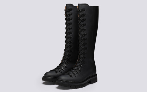 Nanette Knee High | Womens Boots in Black Rubber Leather | Grenson - Main View