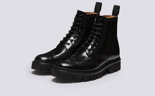 Emmaline | Womens Brogue Boots in Black Hi Shine | Grenson - Main View