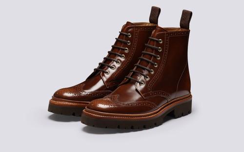 Emmaline | Womens Brogue Boots in Tobacco Hi Shine | Grenson - Main View