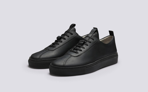 Sneaker 1 | Womens Sneakers in Black Rubber Leather | Grenson - Main View