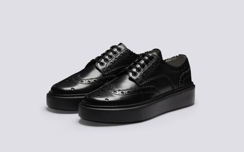 Sneaker 46 | Womens Sneakers in Black Calf Leather | Grenson - Main view