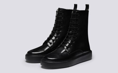 Women's Sneakers | Sneaker 40, Tall Sneaker in Black Calf | Grenson - Main View