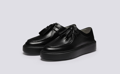 Sneaker 41 | Womens Sneakers in Black Leather | Grenson - Main View