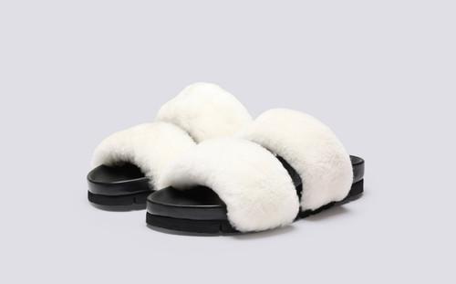 Flo | Fur Sliders for Women in White Shearling | Grenson - Main View