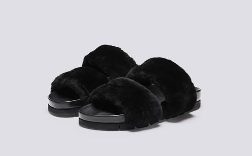 Flo | Fur Sliders for Women in Black Shearling | Grenson - Main View