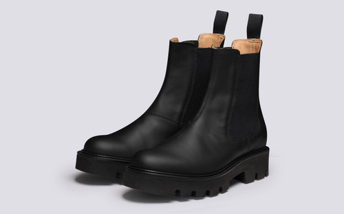 Milly  | Women's Chelsea Boots Black Rubberised Leather | Grenson - Main View