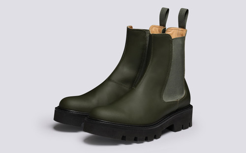 Milly  | Women's Chelsea Boots Green Rubberised Leather | Grenson - Main View