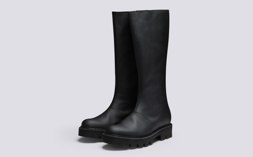 Nessa | Women's Knee High Boots in Black Rubberised Leather | Grenson - Main View