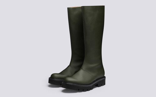 Nessa | Women's Knee High Boots in Green Rubberised Leather | Grenson - Main View