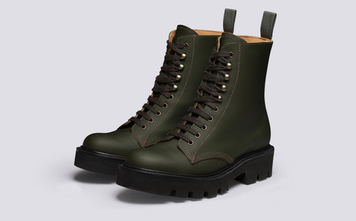 Arabella | Womens Boots in Green Rubberised Leather | Grenson - Main View