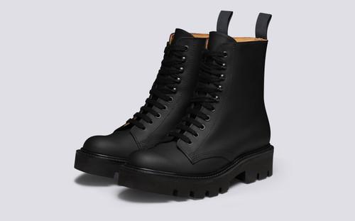 Arabella | Womens Boots in Black Rubberised Leather | Grenson - Three Quarter Viwe
