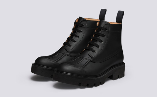 Jackie | Womens Duck Boots in Black Rubberised Leather | Grenson - Main View