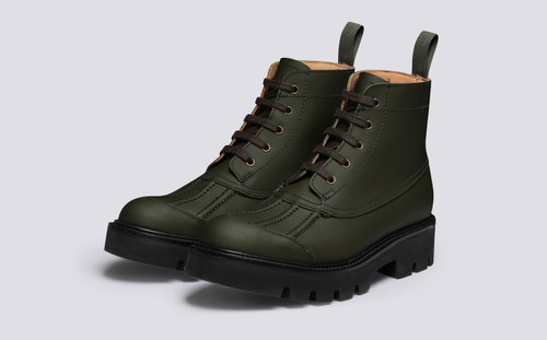 Jackie | Womens Duck Boots in Green Rubberised Leather | Grenson - Main View