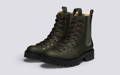 Nanette Pull On | Women's Hiker Boots in Green Rubberised Leather | Grenson - Main View