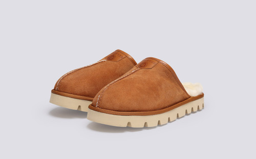 Winsome | Women's Slippers in Tobacco Shearling | Grenson - Main View