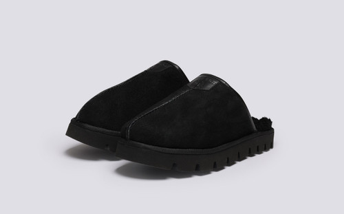 Winsome | Women's Slippers in Black Shearling | Grenson - Main View