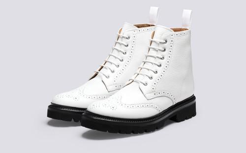 Grenson Emmaline in White Softie Calf Leather - 3 Quarter View