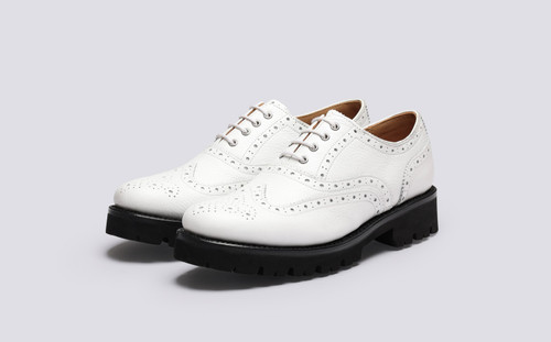 Grenson Emily in White Softie Calf Leather - 3 Quarter View