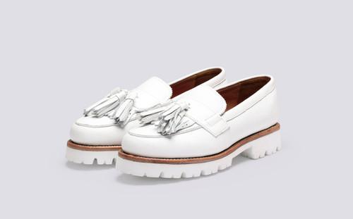 Grenson Clara in White Softie Calf Leather - 3 Quarter View
