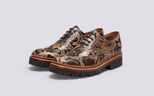 Grenson Emily in Brown Snake Print Leather - 3 Quarter View