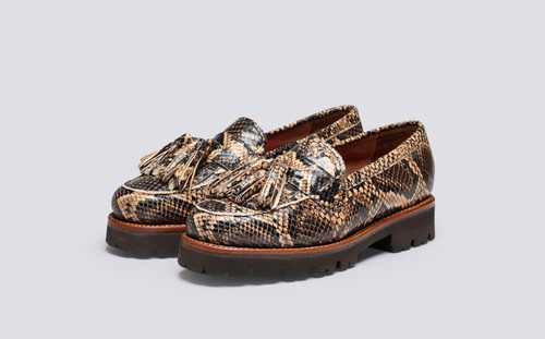Grenson Clara in Brown Snake Print Leather - 3 Quarter View