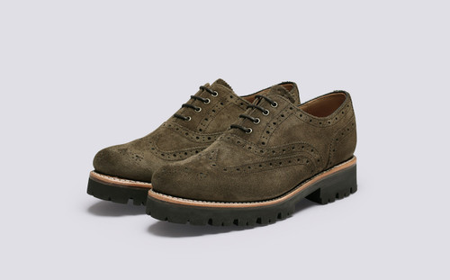 Grenson Emily in Green Suede - 3 Quarter View