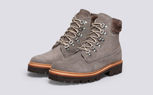 Grenson Brooke in Grey Shaggy Suede - 3 Quarter View
