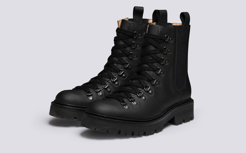 Nanette Pull On | Womens Hiker Boots in Black Rubberised Leather | Grenson - Main View