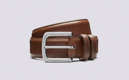 Grenson Casual Belt Walnut in Brown Leather - 3 Quarter View