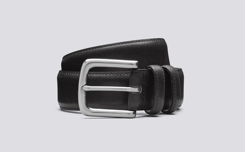Grenson Casual Belt in Black Leather - 3 Quarter View
