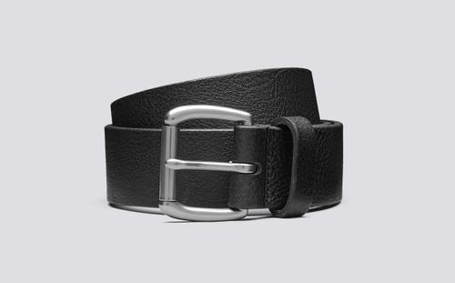 Grenson Jeans Belt Black Pebble Grain Leather - 3 Quarter View