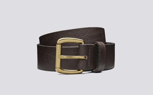 Grenson Jeans Belt Burnt Oak Pebble Grain Leather - 3 Quarter View