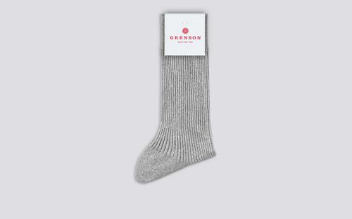 Womens Socks   Silver Glitter Rib Socks   Grenson - Folded View