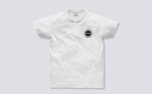 Grenson Sunburst T-Shirt in White Cotton - 3 Quarter View