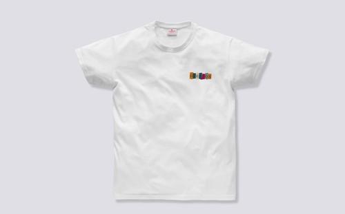 Grenson Multi Block T-Shirt in White Cotton - 3 Quarter View