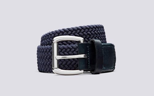 Grenson Woven Elastic Belt in Blue - 3 Quarter View