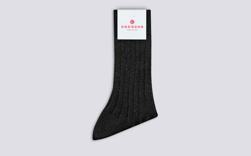 Grenson Glitter Rib Socks in Black Cotton/Nylon - 3 Quarter View