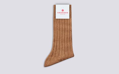 Grenson Glitter Rib Socks in Beige Cotton/Nylon - 3 Quarter View