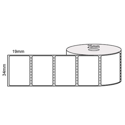 35mm x 19mm - White Direct Thermal Removable Labels, 25mm core, (2000/roll) - L11604