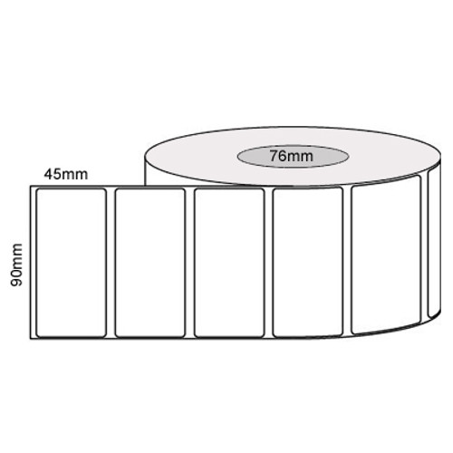 90mm x 45mm - White Gloss Thermal Transfer Labels, Permanent Adhesive, 76mm core, (2500/roll)